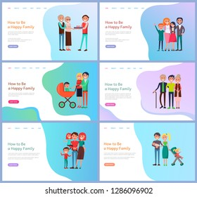 How to be happy family website with buttons. Portrait view of parents, children and baby carriage. Mother and father, son and daughter, relatives vector. Webpage template, landing page in flat style