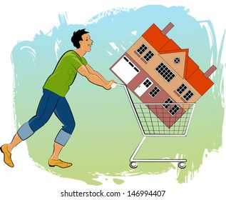 How to become a first time homeowner. Young man pushing a shopping cart with a house in it