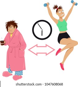How to become a morning person, grumpy woman transformed into an enthusiastic early bird, EPS 8 vector illustration