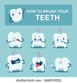 How to brush your teeth guide vector cartoon illustration with cute characters.