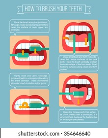How to brush your teeth. Vector infographic template with text areas. Flat illustration.