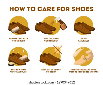 How to care for leather shoes instruction. Clean footwear regularly and use wax. Business accessory. Classic style. Vector illustration in cartoon style