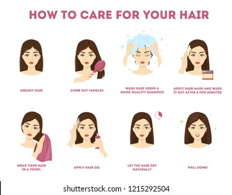 How to care for your hair instruction. Hair treatment procedure. Dry with towel, use oil and mask for health. Isolated vector illustration
