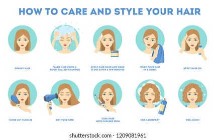 How to care for your hair and style them instruction. Hair treatment procedure. Dry with hairdryer, use oil and mask for health. Make curl with curling iron. Isolated vector illustration