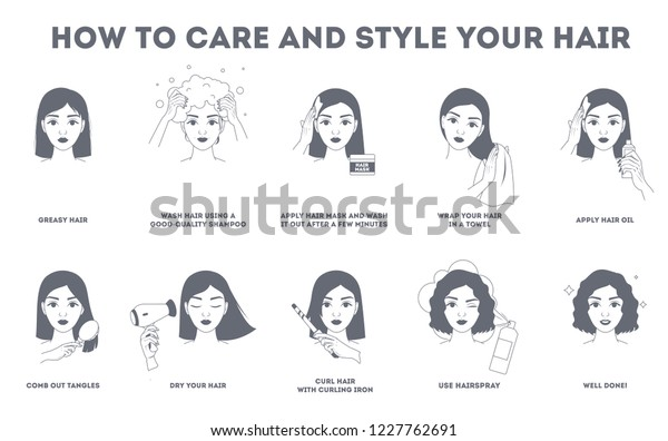 How Care Your Hair Style Them Stock Vector Royalty Free 1227762691