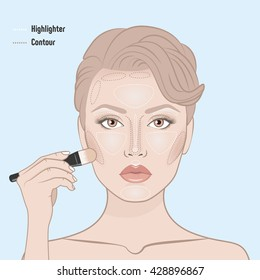 How to contour woman face. Face shape contour guide. Vector illustration. Woman's face and hand with professional makeup brush. Contour face map. Makeup artist apply contour on the face of the girl