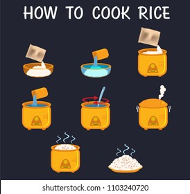 how to cook rice flat vector