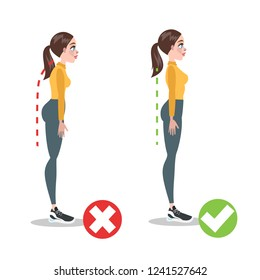 How to correct posture infographic. Incorrect pose and back pain. Wrong and right body position while standing. Isolated flat vector illustration
