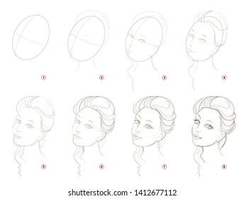 How create step by step pencil drawing. Page shows how to learn successively draw imaginary beautiful girl. Print for artists school textbook. Developing skills for design. Hand-drawn vector image.