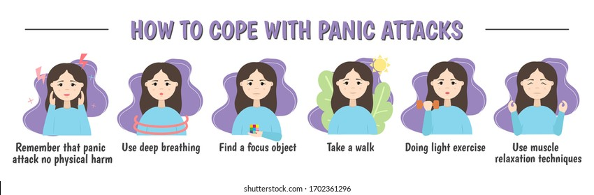 How to deal with a panic attack. How to stop anxiety and panic disorder. Psychological infographics. vector illustration.