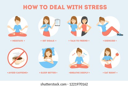 How to deal with stress guide. Depression reduce instruction. Making exercise and yoga, sleep and deep breath help to reduce stressful state. Isolated flat vector illustration