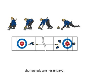 How to do the sport of Curling, step-by-step side view and overhead shot of the ice (curling sheet) and players, vector illustration.
