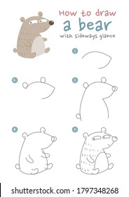 How to draw a bear vector illustration. Draw a teddy bear step by step.  Glance eyes bear drawing guide. Cute and easy drawing guidebook.