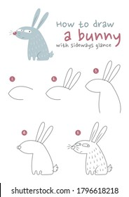 How to draw a bunny vector illustration. Draw a rabbit step by step.  Glance eyes bunny drawing guide. Cute and easy drawing guidebook.