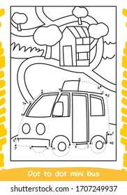 How To Draw Bus . Drawing For Children. Dot to Dot Transportation