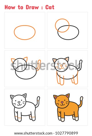 How Draw Cat Step By Step Stock Vector Royalty Free 1027790899