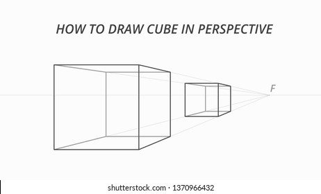 How to draw cube in perspective. Drawing scheme of three-dimensional objects. Vector illustration. Level of the horizon, vanishing point, auxiliary lines of perspective. 3D cube drawing process.