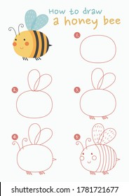 How to draw a honey bee vector illustration. Draw a honey bee step by step. Honey bee drawing guide. Cute and easy drawing guidebook.