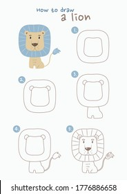 How to draw a lion vector illustration. Draw a lion step by step. Lion drawing guide. Cute and easy drawing guidebook.