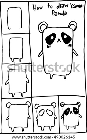 How Draw Panda Bear Doodles Step Stock Vector Royalty Free