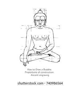 How to draw a silhouette of a Buddha. Proportions of building a statue of a seated Buddha in the lotus position. Imitation of ancient engraving. Hand drawn vector illustration