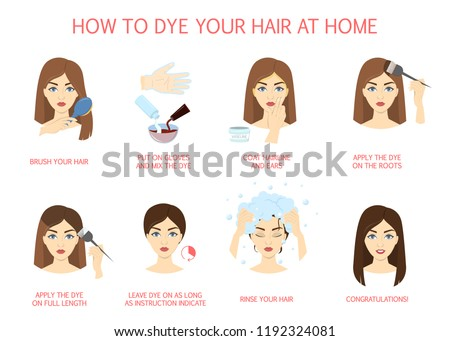 How Dye Your Hair Home Guide Stock Vector (Royalty Free) 1192324081 ...