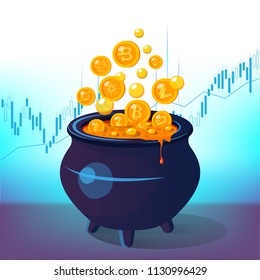 How to earn Cryptocurrency visual concept. How to earn money from Cryptocurrencies. Cauldron full of gold coins.