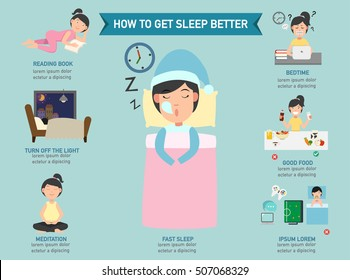 How to get sleep better infographic,vector illustration.