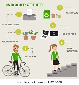 How to go green at the office infographics . illustration EPS10.