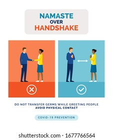 How to greet safely without touching the other person and prevent spreading of germs: namaste greeting over handshake, coronavirus covid-19 prevention advice
