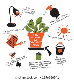 How to grow carnivorous plant. Funny hand drawn instruction and illustration of venus flytrap plant, lamp, insect, watering can, spray and bucket. Vector design Isolated on white.