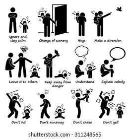How to Handle Baby Kid Child Tantrum Outburst Stick Figure Pictogram Icons