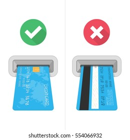 How to insert credit card in ATM. Financial icons in flat style. Right and wrong method to insert credit cards with checking icons. Vector illustration of credit cards and atm machine slot.