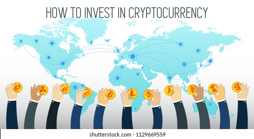 How to invest in Cryptocurrency visual concept. Businessman hands holding Cryptocurrencies. Successful Trader. Cryptocurrency exchange