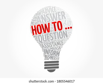How to - light bulb word cloud, business concept background