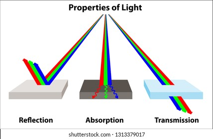 How light works; the properties of light reflection, absorption, and transmission; light is reflected, absorbed, and transmitted.