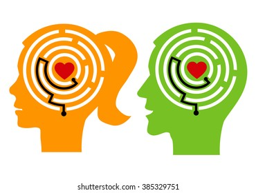How to love yourself. Female and  male stylized head silhouettes with maze and heart. Icon symbolizing solutions How to love yourself. Vector available.