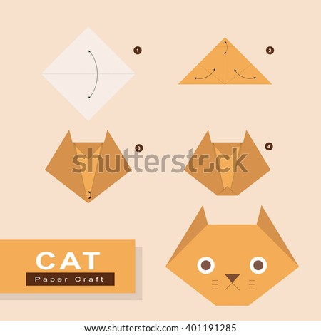 How Make Cat Origami Paper Stock Vector Royalty Free 401191285