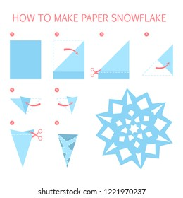 How to make christmas white snowflake of different shape diy. Step-by-step instruction for paper origami toy. Tutorial for children. Isolated vector flat illustration
