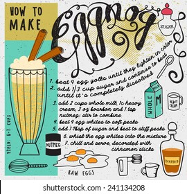 How to Make Eggnog - Pictorial recipe for the winter holidays cocktail, with bourbon, eggs, milk, sugar, cream and nutmeg, and necessary tools for the home made drink, hand drawn