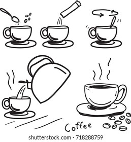 How to make instant coffee vector drawn