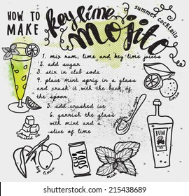 How to make a key lime mojito recipe card, with instructions and hand drawn ingredients, including limes, rum, soda can and mint leaves