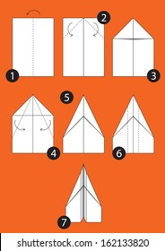 How to make origami paper Airplane. Instructions in 7 steps.
