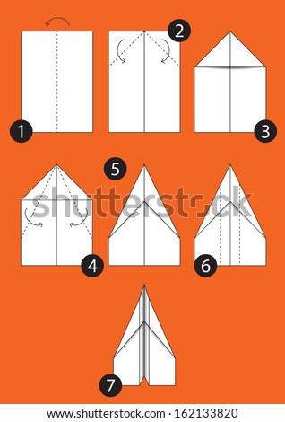 How Make Origami Paper Airplane Instructions Stock Vector Royalty
