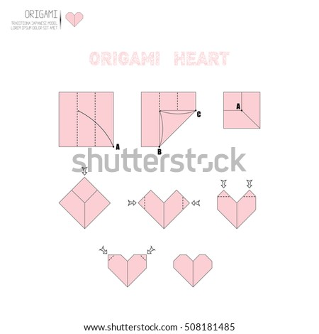 How Make Origami Paper Heart Stock Vector Royalty Free 508181485