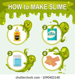 How to make slime. Vector cartoon infographic for kid with funny green blobs of characters isolated on background.