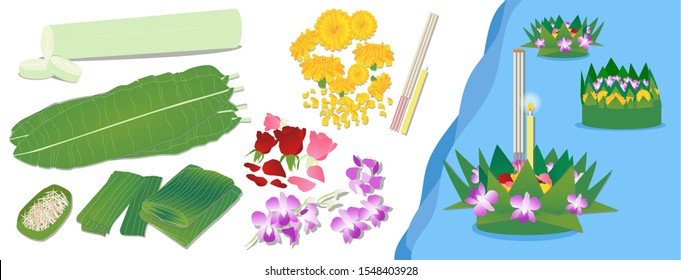 How to make a traditional Thai krathong - Loy Krathong Festival. Materials for making banana leaf krathongs, banana leaves, daffodils, marigolds, pickles, red and pink, purple orchids, incense, candle