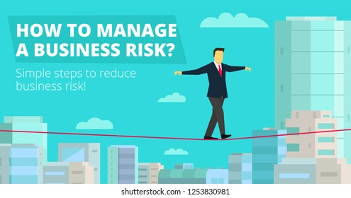 How to Manage Business risk. Businessman walking tightrope funambulist rope-dancer balance-master