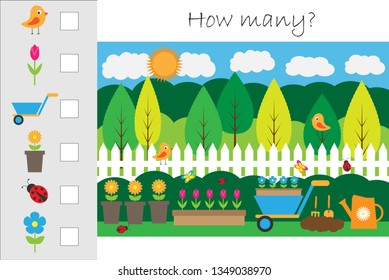 How many counting game with garden picture for kids, educational maths task for the development of logical thinking, preschool worksheet activity, count and write the result, vector illustration