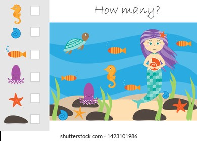 How many counting game, mermaid in the ocean for kids, educational maths task for the development of logical thinking, preschool worksheet activity, count and write the result, vector illustration